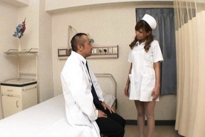 Aya Asian nurse enjoys giving head and getting fucked at work